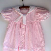 Pink Sailor Dress, Baby Girl Vintage, Baby Clothes, Size 12 Months, 1960's