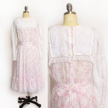 Vintage Dress 80s PINK Floral Cotton Lace Sailor Collar Tea Dress Gunne Sax - Medium