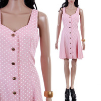 Pink Polka Dot Fit and Flare 90s Vintage Skater Dress Dusky Pastel Short Summer Hipster Preppy 1990's Clothing Womens Size Small-Medium