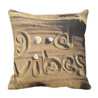 "Fun, ""Good Vibes"" Quote Drawn In Beach Sand Photo Throw Pillow"
