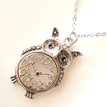 large owl necklace, extra long necklace, owl jewelry watch necklace, antique silver animal necklace, owl clock necklace, whimsical jewelry