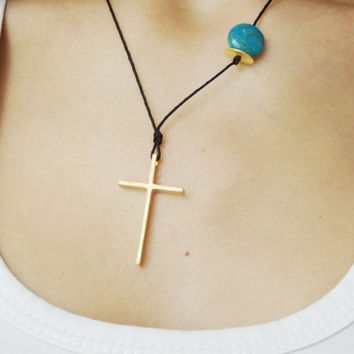 Large gold cross necklace, minimal sterling cross on a black cord with round turquoise stone, made to order