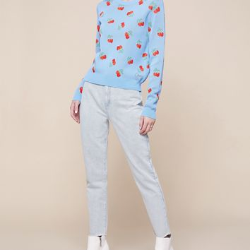 Cherry Jacquard Pullover Sweater