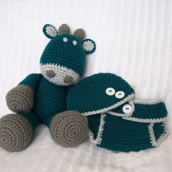 Baby Shower Gift Set, Giraffe Baby Shower, Boy Diaper Cover Set and Crochet Giraffe Stuffed Animal in Teal and Grey (MADE TO ORDER)