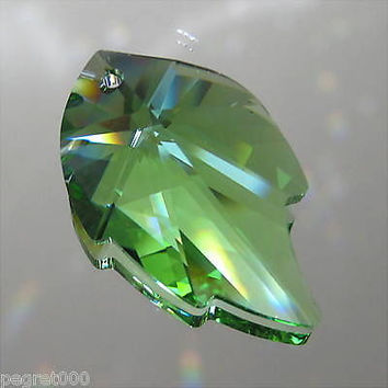 Swarovski Crystal Peridot Leaf Prism Pendant Ornament, 32mm, Retired