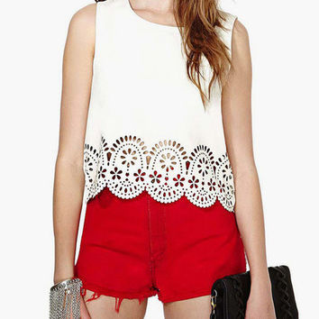 White Scallop Floral Cut-Out Sleeveless Top