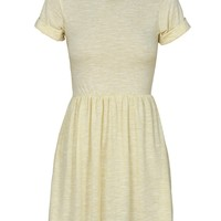Yellow Short Sleeve Melange Skater Dress