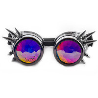 Chrome Spiked Kaleidoscope Goggles for Raves