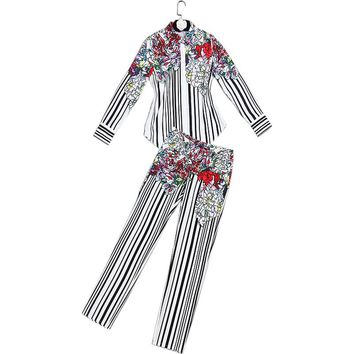 European Women Summer Spring Fashion Casual Twin Set Long Sleeve Blouse+Long Trousers Striped Flower Printed Slim Outfit Suits