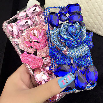 Anti Dust Crystal Rose Handmade Mobile Phone Case for iphone 5 5s 6 6s plus, for galaxy S6 S7 and more