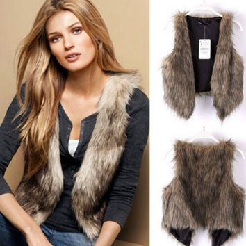 Women Fashion Faux Fur Vest Sleeveless Coat Outerwear Long Hair Jacket Waistcoat = 1931705860