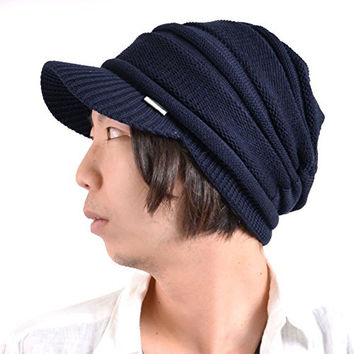 Casualbox mens Peak Cap Beanie Knit Hat Summer Warm Slouch Baggy Unisex Navy