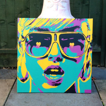 Pop art woman painting,canvas,stencil art,spray paint art,sunglasses,hearts,earings,abstract,portrait,girl,her,home living,artwork,design