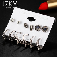 17KM Earrings Sets with hoops and studs, featuring leaves and flowers
