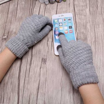 M MISM Autumn And Winter Warm Women Gloves Handmade Knit Wool Girl Mittens Touchable Screen Fitness Gloves Simple Female Gloves