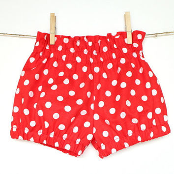 Girls bubble shorts Toddler girls shorts Red white dot shorts Girls bloomers Girls clothes