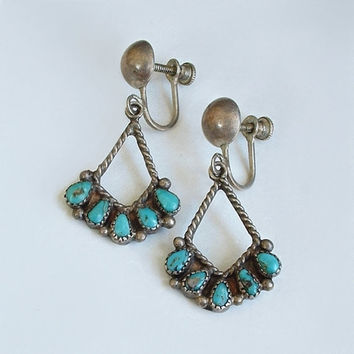 Old Pawn Vintage NATIVE American Navajo TURQUOISE Earrings STERLING Silver Dangles Screwbacks Hallmarked c.1940s