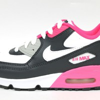 Nike Toddler's Air Max 90 LTR PS Gray/Pink Sneakers 833377 003