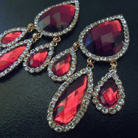 "Red Ruby Teardrop Gem Dangle Plugs in 7/16"" (11mm), 1/2"" (12mm), 9/16"" (14mm) or 5/8 (16mm) for Stretched Ears"