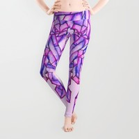 Pink purple watercolor paint crystals gem pattern Leggings by Girly Trend