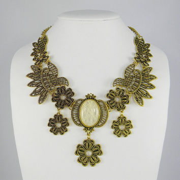 Renaissance Romantic Necklace - Lace Filigree  Detail - Opaque White Threaded Stone - BIB Collar Statement NECKLACE