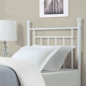 Twin size White Metal Headboard with Simple Lines and Decorative Finals