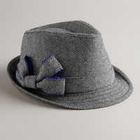 Black Bow Tweed Fedora Hat - World Market