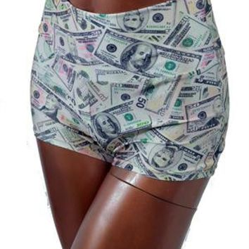 Millionaire Money Print High Waist Shorts