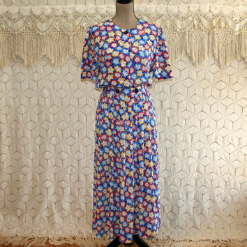 Day Dress Short Sleeve Shirtwaist Floral Full Skirt 90s 40s Style Drop Pleated Dress Grunge Liz Claiborne Size Large Womens Vintage Clothing