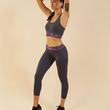 Gymshark Fit Cropped Leggings - Charcoal/Purple Wash