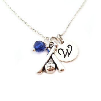 Baseball Bat Charm Personalized Initial Sterling Silver Necklace