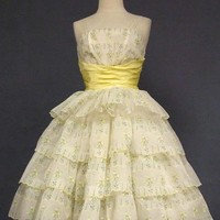 HAIRSPRAY! Early 1960's Yellow & White Party Dress VINTAGEOUS VINTAGE CLOTHING