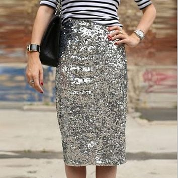 Bling Sequin Pencil Skirt 2017 Fashion Midi Skirt for Women Silver Old Green Sequin Skirt High End Saia Custom Made Plus Size 1