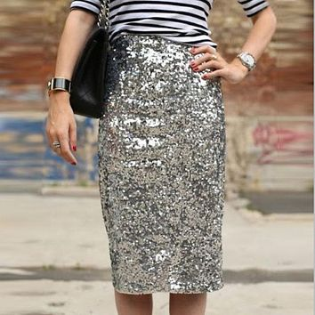 Bling Sequin Pencil Skirt 2017 Fashion Midi Skirt for Women Silver Old Green Sequin Skirt High End Saia Custom Made Plus Size
