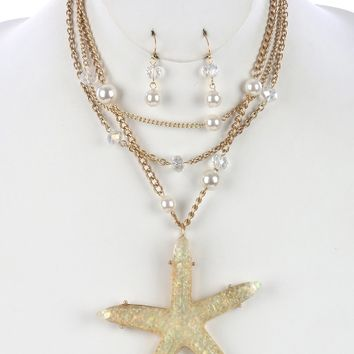 Chunky Starfish  Three Chain Textured Lucite Pearl Glass Bead Necklace Earring Set