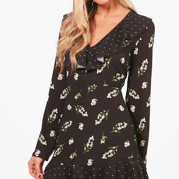 Perry Spot and Floral Print Ruffle Tea Dress | Boohoo