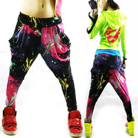 Jazz hiphop jazz dance hip-hop pants ds doodle spring and summer loose neon candy color harem pants 0416