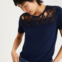 AE Soft & Sexy Lace Chest Short Sleeve Tee, Navy
