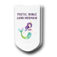 Poetic, Noble, Land Mermaid - Custom Printed Women's No-Show Socks