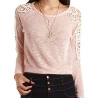 Crochet-Topped Sweater Knit Top by Charlotte Russe - Blush