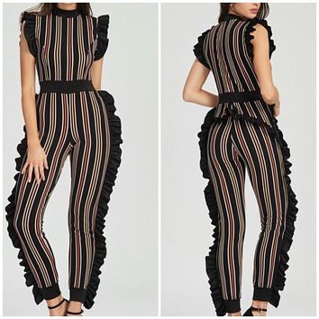New Sexy Striped Ruffle Fitted Jumpsuit Medium