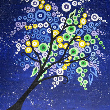 tree painting canvas, purple, blue, green, colourful, colorful, original, huge large  tree of life, art, square canvas