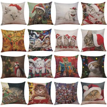 Cat Pillow Cover Christmas