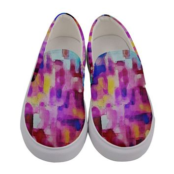 Blue Pink Watercolors Women Canvas Slip Ons Women's Canvas Slip Ons