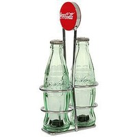TableCraft Coca-Cola CC339N Salt and Pepper Shaker Set with Chrome Plated Metal Rack