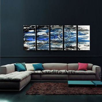 Blue Painting, 5 Panel Canvas Art on Canvas by Nandita Albright, Original Black Gray Large Contemporary Art, Home Decor Artwork office decor