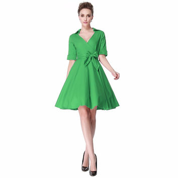 Heroecol Women V Neck Short Sleeve Vintage 50s 60s Swing Style Dresses Rockabilly 1950s 50's Party Green Dress