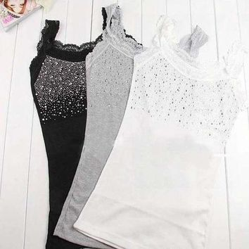 DCK9M2 Z101'Girl Women's Rhinestone Sequin Lace Tank Top Sling Camisole Cami Shirt Vest Slim