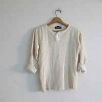 vintage long sleeve long underwear top. button front henley. thermal shirt in off white