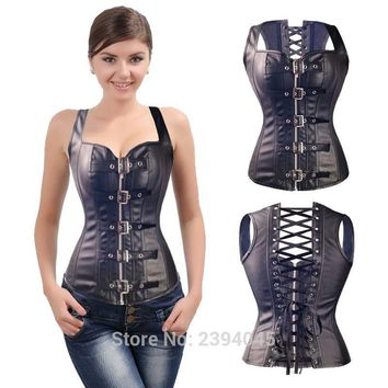 Free shipping Sexy Black Faux Leather Buckle Overbust  Steel Bone Waistcoat Corset Top Steampunk women Bustier Cincher Corselet